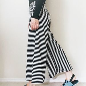 NWT Black n white striped wide-leg poncho pants